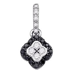 0.30 CTW Black Color Diamond Cluster Pendant 10KT White Gold - REF-18H2M