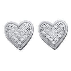 0.10 CTW Diamond Heart Screwback Earrings 10KT White Gold - REF-12K2W