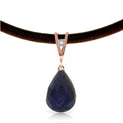 Genuine 14.81 ctw Sapphire & Diamond Necklace Jewelry 14KT Rose Gold - REF-30Y2F