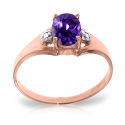 Genuine 0.76 ctw Amethyst & Diamond Ring Jewelry 14KT Rose Gold - REF-20Y8F