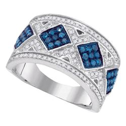 0.65 CTW Blue Color Diamond Diagonal Square Cluster Ring 10KT White Gold - REF-41N9F