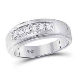 0.25 CTW Mens Diamond Single Row Polished Wedding Ring 14KT White Gold - REF-49M5H