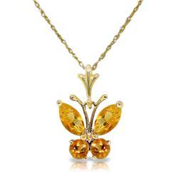 Genuine 0.60 ctw Citrine Necklace Jewelry 14KT Yellow Gold - REF-23A5K