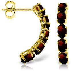 Genuine 2.5 ctw Garnet Earrings Jewelry 14KT Yellow Gold - REF-37Y4F