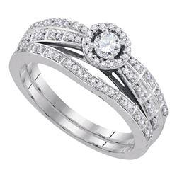 0.33 CTW Diamond Halo Bridal Engagement Ring 10KT White Gold - REF-50K9W