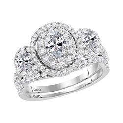 1.54 CTW Oval Diamond 3-Stone Bridal Wedding Engagement Ring 14KT White Gold - REF-217X4Y
