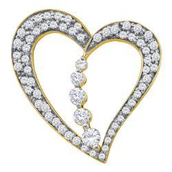 0.45 CTW Diamond Heart Journey Pendant 10KT Yellow Gold - REF-41X9Y