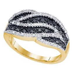 0.50 CTW Black Color Diamond Cocktail Ring 10KT Yellow Gold - REF-30H2M