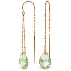 Genuine 6 ctw Green Amethyst Earrings Jewelry 14KT Rose Gold - REF-21Z9N