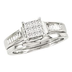 0.50 CTW Princess Diamond Bridal Engagement Ring 14KT White Gold - REF-79N4F