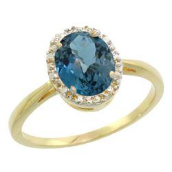 Natural 1.22 ctw London-blue-topaz & Diamond Engagement Ring 10K Yellow Gold - REF-20W5K