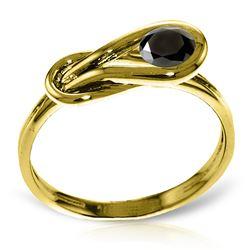 Genuine 0.50 ctw Black Diamond Ring Jewelry 14KT Yellow Gold - REF-77H2X