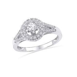 0.38 CTW Diamond Halo Bridal Anniversary Engagement Ring 10KT White Gold - REF-44N9F