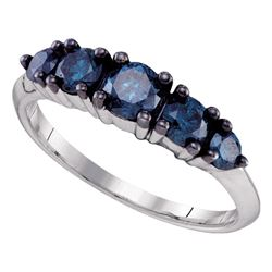 1 CTW Blue Color Diamond 5-stone Bridal Ring 10KT White Gold - REF-52X4Y