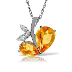 Genuine 4.06 ctw Citrine & Diamond Necklace Jewelry 14KT White Gold - REF-59Y2F