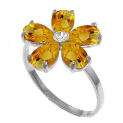 Genuine 2.22 ctw Citrine & Diamond Ring Jewelry 14KT White Gold - REF-35Y9F