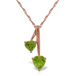 Genuine 1.40 ctw Peridot Necklace Jewelry 14KT Rose Gold - REF-23N8R