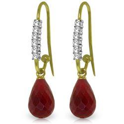 Genuine 17.78 ctw Ruby & Diamond Earrings Jewelry 14KT Yellow Gold - REF-47K5V
