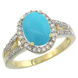 Natural 2.72 ctw turquoise & Diamond Engagement Ring 10K Yellow Gold - REF-51N6G