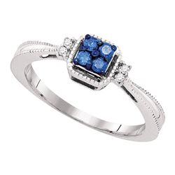 0.15 CTW Blue Color Diamond Simple Cluster Ring 10KT White Gold - REF-14N9F