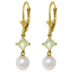 Genuine 5 ctw White Pearl & Aquamarine Earrings Jewelry 14KT Yellow Gold - REF-32W2Y
