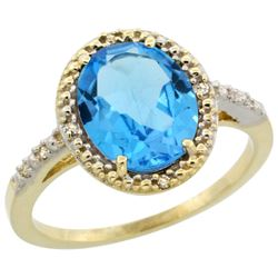Natural 2.42 ctw Swiss-blue-topaz & Diamond Engagement Ring 14K Yellow Gold - REF-34G7M