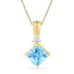 2.42 CTW Princess Created Blue Topaz Solitaire Pendant 10KT Yellow Gold - REF-18W2K