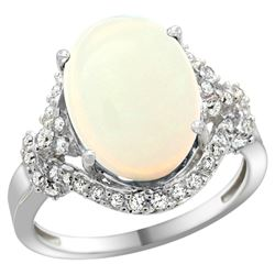 Natural 5.89 ctw opal & Diamond Engagement Ring 14K White Gold - REF-90F7N