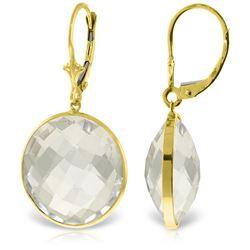 Genuine 36 ctw White Topaz Earrings Jewelry 14KT Yellow Gold - REF-48N9R