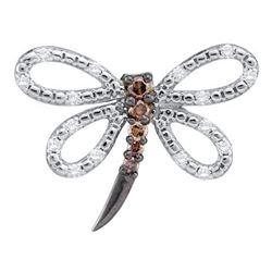 0.25 CTW Cognac-brown Color Diamond Dragonfly Bug Pendant 14KT White Gold - REF-24M2H