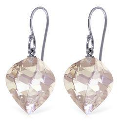 Genuine 25.6 ctw White Topaz Earrings Jewelry 14KT White Gold - REF-41Y6F