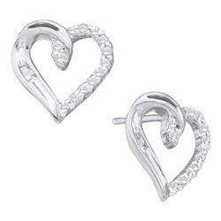 0.16 CTW Diamond Heart Love Stud Earrings 10KT White Gold - REF-12H2M