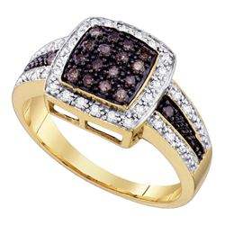 0.50 CTW Cognac-brown Color Diamond Square-shape Cocktail Ring 10KT Yellow Gold - REF-32W9K