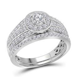 1 CTW Diamond Halo Bridal Engagement Ring 14KT White Gold - REF-119N9F