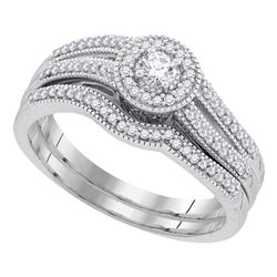 0.33 CTW Diamond Halo Bridal Engagement Ring 10KT White Gold - REF-46K4W