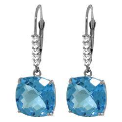 Genuine 7.35 ctw Blue Topaz & Diamond Earrings Jewelry 14KT White Gold - REF-57H3X