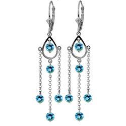Genuine 3 ctw Blue Topaz Earrings Jewelry 14KT White Gold - REF-48Y9F
