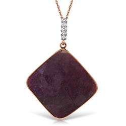 Genuine 20.33 ctw Ruby & Diamond Necklace Jewelry 14KT Rose Gold - REF-84M8T