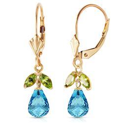 Genuine 3.4 ctw Blue Topaz & Peridot Earrings Jewelry 14KT Yellow Gold - REF-26H6X