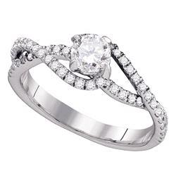 0.75 CTW Diamond Solitaire Slender Woven Bridal Engagement Ring 14k White Gold - REF-116F9N
