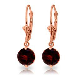 Genuine 3.1 ctw Garnet Earrings Jewelry 14KT Rose Gold - REF-34F3Z