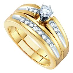 0.50 CTW His & Hers Diamond Solitaire Matching Bridal Ring 10KT White Gold - REF-75K2W