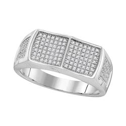 0.32 CTW Mens Diamond Double Square Cluster Ring 10KT White Gold - REF-47X9Y