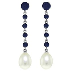 Genuine 10 ctw Sapphire & Pearl Earrings Jewelry 14KT White Gold - REF-37R8P