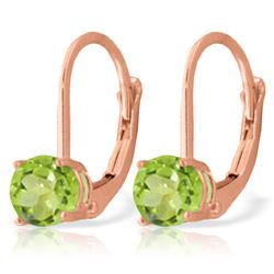 Genuine 1.20 ctw Peridot Earrings Jewelry 14KT Rose Gold - REF-23R2P