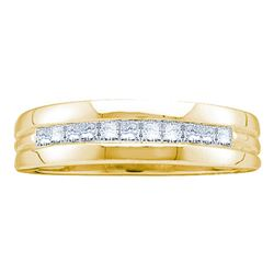 1 CTW Mens Princess Diamond Wedding Anniversary Ring 14KT Yellow Gold - REF-112H5M