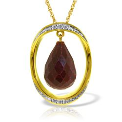 Genuine 13.6 ctw Ruby & Diamond Necklace Jewelry 14KT Yellow Gold - REF-122H9X