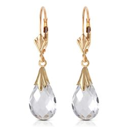 Genuine 6 ctw White Topaz Earrings Jewelry 14KT Yellow Gold - REF-27X8M
