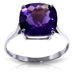 Genuine 3.6 ctw Amethyst Ring Jewelry 14KT White Gold - REF-34V7W