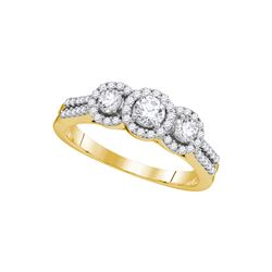 0.75 CTW Diamond 3-stone Bridal Engagement Ring 14k Yellow Gold - REF-87W2K